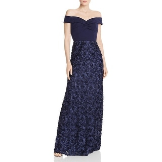 Aidan Mattox Womens Formal Dress Rosette Off-The-Shoulder - Twilight