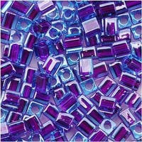 Miyuki 4mm Glass Cube Beads Purple Lined Blue 2651 10 Grams