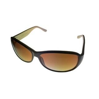 Ellen Tracy Womens Sunglass 506 2 Brown Rectangle Plastic, Brown Gradient Lens - Medium