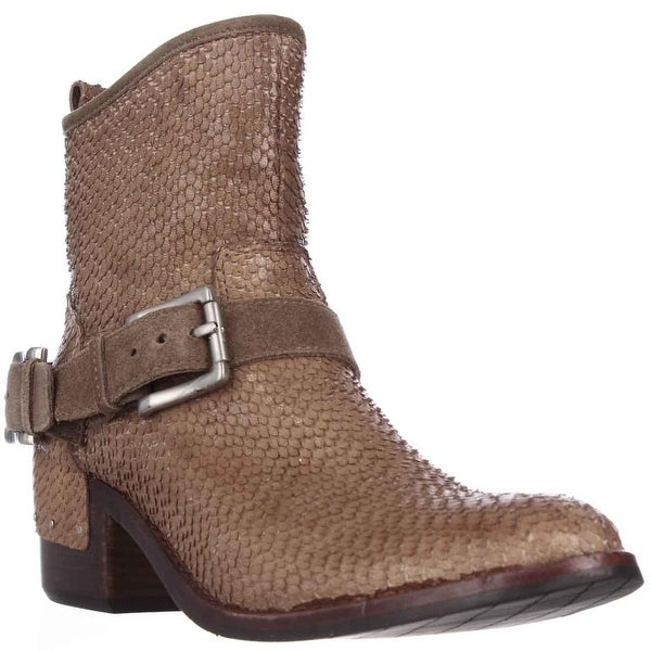Donald J Pliner Wade Western Ankle Boots, Taupe Cut Snake - 6 us