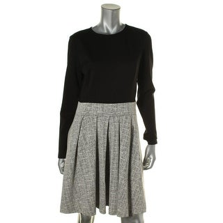 Lauren Ralph Lauren Womens Dress Colorblock Pleated Wear to Work Dress