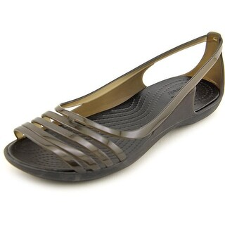Crocs Isabella Huarache Flat Women Peep-Toe Synthetic Black Flats