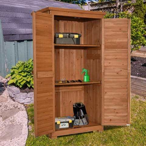 "MCombo 63"" Tall Garden Storage Shed Wooden Tools Shutter Fir Wood Lockers"