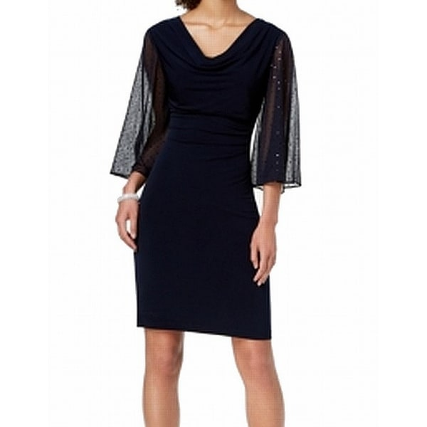 Connected Apparel Blue Womens Size 16 Statement Sleeve Sheath Dress