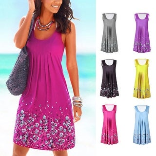 Link to Flower Print Sleeveless Women Loose Summer Beach Evening Party Boho Mini Dress Similar Items in Shop By Style