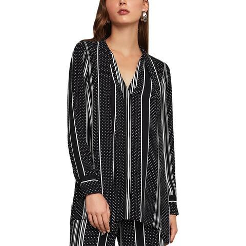 BCBG Max Azria Womens Tunic Top Printed Neck Tie - Black - Dots And Stripes - XXS