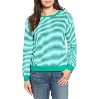 Halogen Green Womens Large L Striped Lace-Up Back Pullover Sweater