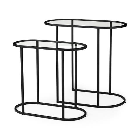 Celine 24.2 L x 12.6 W x 22.4 H Set of Two Black/Silver Metal and Glass Nesting Accent Tables - 24.2L x 12.6W x 22.4H