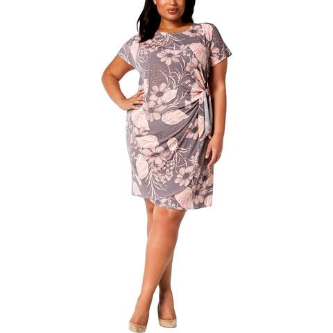 Signature By Robbie Bee Womens Plus Wrap Dress Cocktail Party
