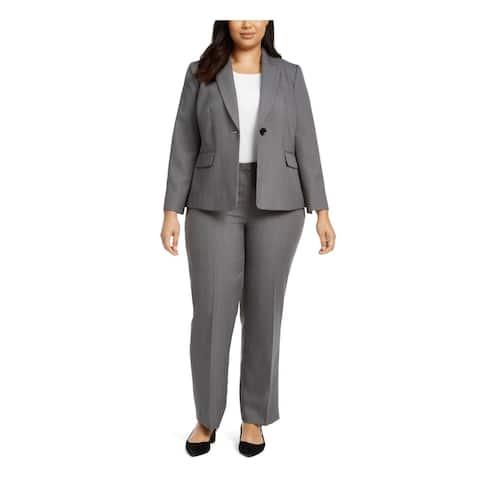 LE SUIT Gray Blazer Straight leg Pant Suit Size 20W