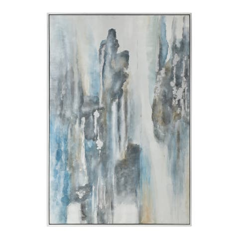 """Uttermost 35357 Celebrate 49 3/4"""" x 73 3/4"""" Framed Abstract Painting on Canvas by Grace Feyock - Soft Blues / Silver Leaf"""