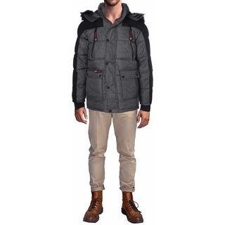 Canada Weather Gear Heather Yarn Men's Faux Down Goose Parka Coat Jacket