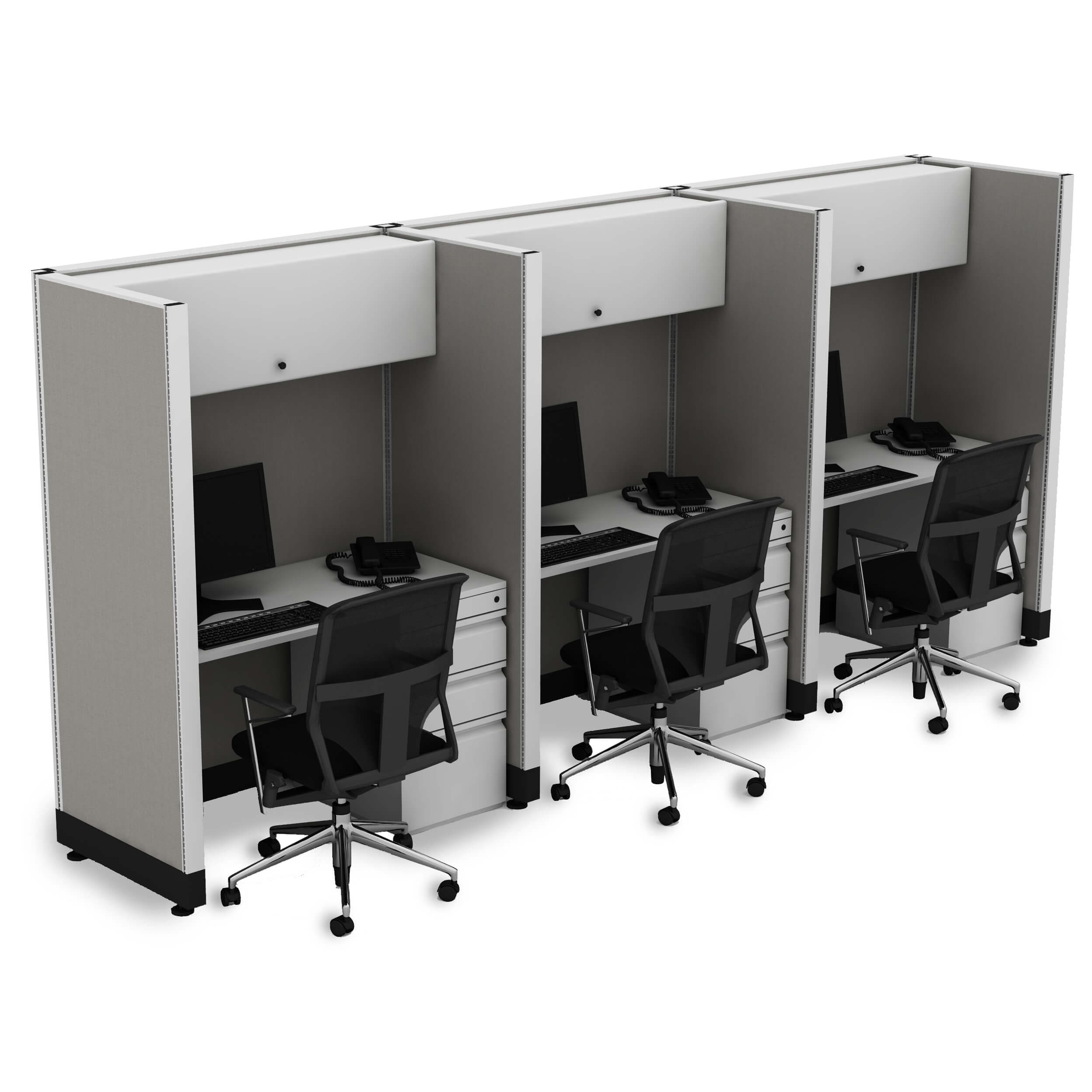 Hoteling Stations 67H 3pack Inline Powered (2x4 - Walnut Desk Silver Paint - Assembled)