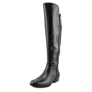 Bandolino Camme Wide Calf Women Round Toe Leather Black Knee High Boot