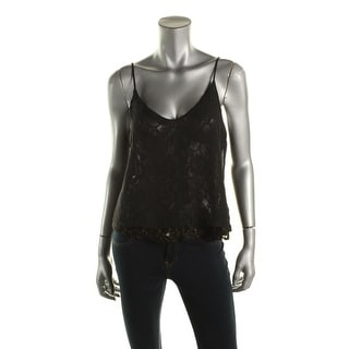 Material Girl Womens Juniors Chiffon Metallic Tank Top - L