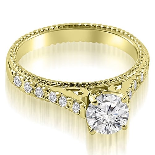 1.40 cttw. 14K Yellow Gold Vintage Cathedral Round Cut Diamond Engagement Ring