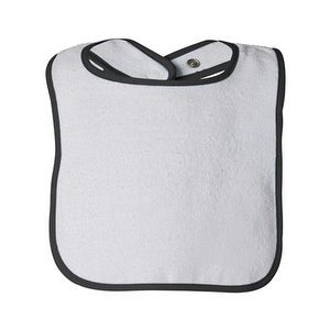 Rabbit Skins Infant Contrast Trim Terry Bib - Black - One Size