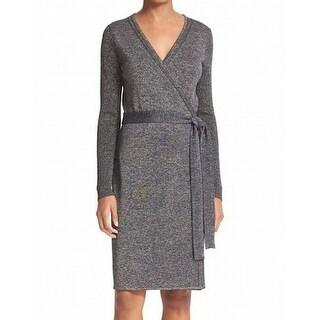 Diane von Furstenberg NEW Navy Blue Womens Medium M Evelyn Wrap Dress