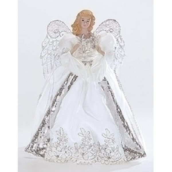 White and Silver Porcelain Angel with Bows Christmas Tree Topper 14""