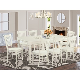 Link to Contemporary White Solid Rubberwood 9-Piece Dining Set with Dover Table and Eight Groton Chairs Similar Items in Dining Room & Bar Furniture