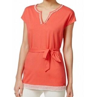 Tommy Hilfiger NEW Orange Women's Size Medium M Belted Crochet Blouse