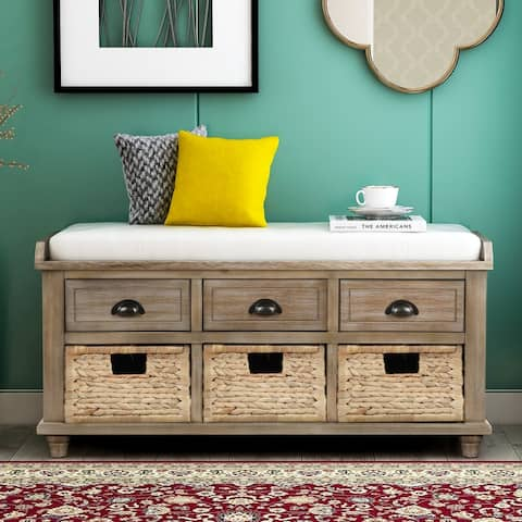 White Washed Storage Bench with 3 Drawers and 3 Rattan Baskets