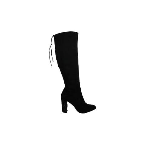 BADGLEY MISCHKA Womens rory Suede Almond Toe Knee High Fashion Boots