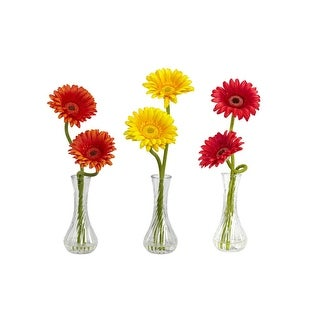 Nearly Natural Gerber Daisy with Bud Vase Arrangement