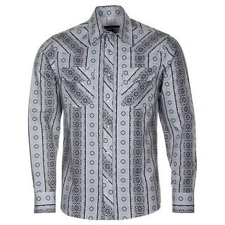 Michael Kors Long Sleeve Western Shirt Medium Grey Geometric Stripes