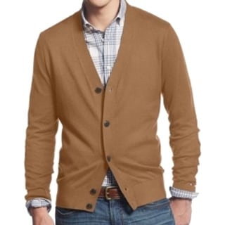 Tommy Hilfiger NEW Brown Mens Size XL Solid Knit Cardigan Sweater