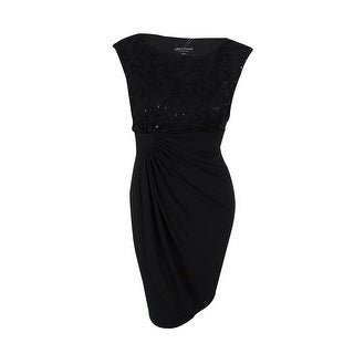 Connected Women's Cap Sleeve Sequin Sheath Dress - Black