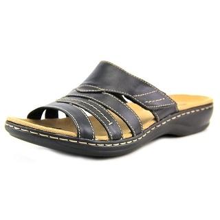 Clarks Leisa Grove Women W Open Toe Leather Black Slides Sandal