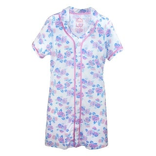 Hanes Women's Button Front Short Sleeve Night Shirt Gown