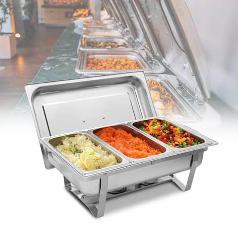 8QT Triple Server Food Warmer Buffet Trays Stove Chafing Dish