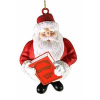 "3"" Santa Claus is Coming To Town with Kringle History Book Christmas Ornament - RED"