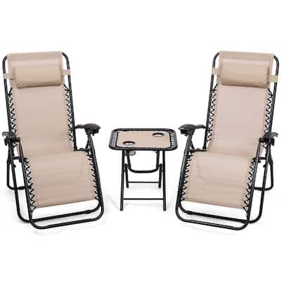 3 PCS Zero Gravity Chair Folding Lounge Table Chair Set