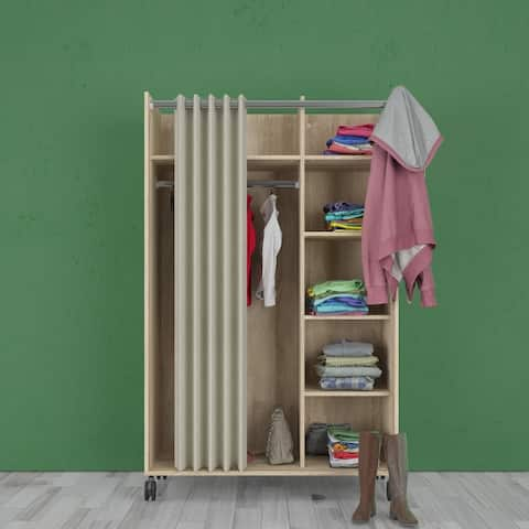 Porch & Den Camino Oak Structure and Natural Fabric Mobile Wardrobe with Curtain