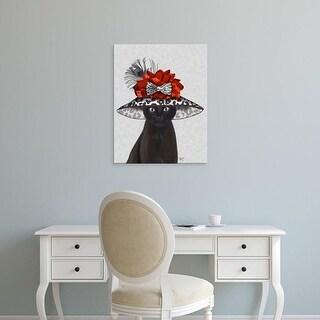 Easy Art Prints Fab Funky's 'Cat, Black with Fabulous Hat' Premium Canvas Art