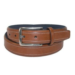 Nautica Men's Leather 1.25 Inch Contrast Stitch Belt - Tan - 42