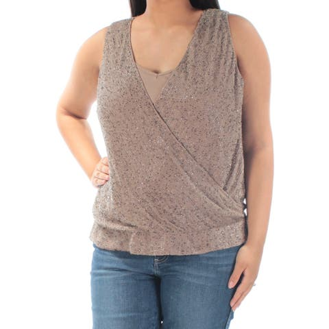 RALPH LAUREN Womens Brown Beaded With Cami Sleeveless V Neck Wrap Party Top Size: L