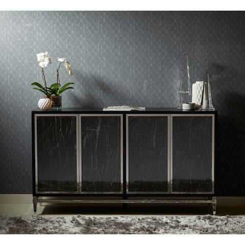 Modern Black/ Silver Glass 4-door Console