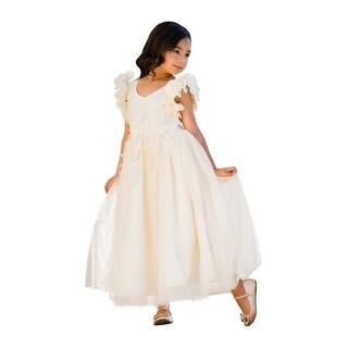 Little Girls Ivory Petal Sleeve Satin Lace Floor Length Flower Girl Dress