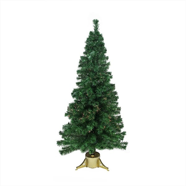 6' Pre-Lit Color Changing Fiber Optic Artificial Christmas Tree - Multi Lights - green