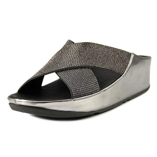 aca7a42229bc1d Shop FitFlop Crystall Women Open Toe Canvas Silver Slides Sandal ...