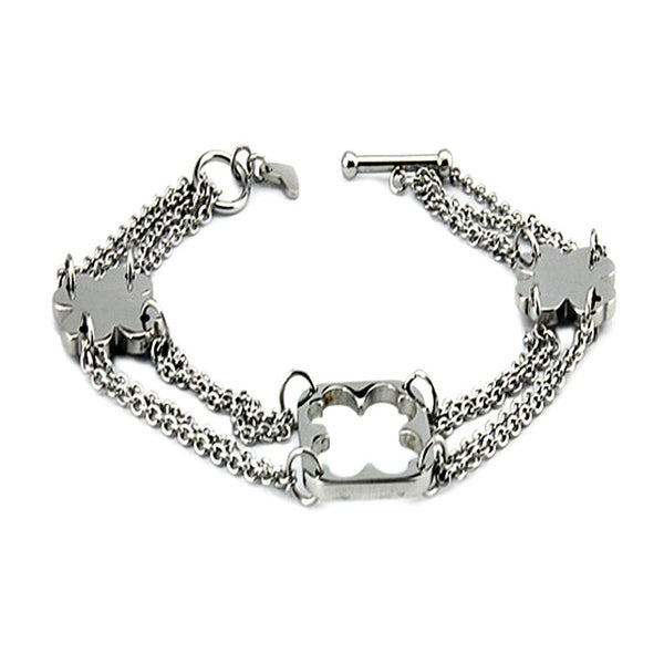 Stainless Steel Ladies Clover Charm Bracelet with Toggle Clasp 7.25 Inches
