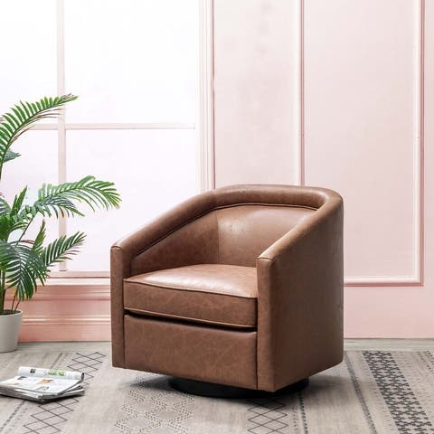 Kotter Home Faux Leather Swivel Barrel Chair