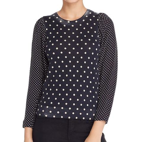 Rebecca Taylor Women Blouse Black Size XS Contrast Silk Dot Print Wool