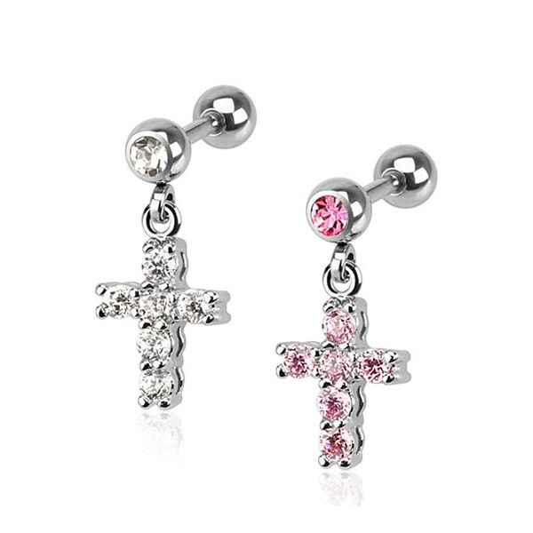 Cross CZ Paved Dangle 316L Surgical Steel Tragus/Cartilage Barbell (Sold Ind.)
