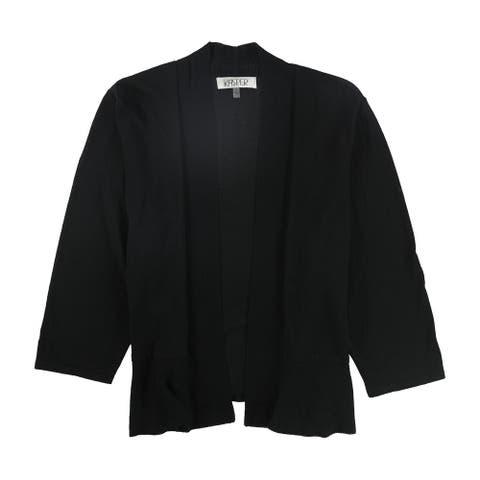 Kasper Womens Peplum Cardigan Sweater, Black, 1X