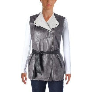Sanctuary Womens Faux Leather Faux Sherpa Lined Casual Vest - XS